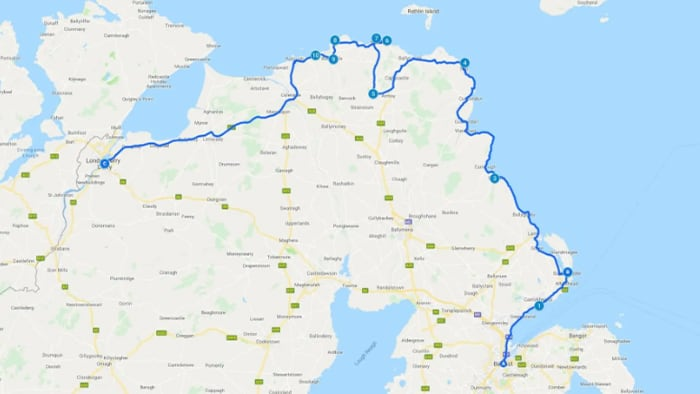 Causeway Coastal Route, North Ireland Map