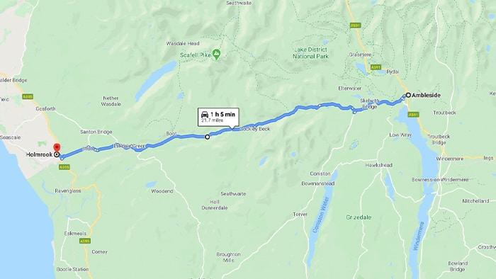 Hardknott Pass Lake District Map