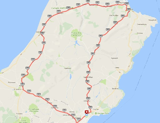 Tourist Trophy Route, Isle of Man Map